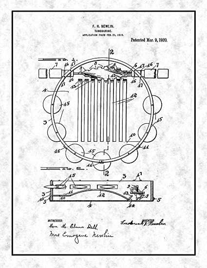 amazon tambourine patent print gunmetal with border 11 x 14 DDJ-SX Skin image unavailable