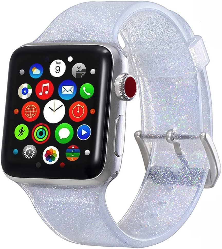 Compatible with Apple Watch Band 38mm 40mm, Libra Gemini Glitter Bling Silicone Replacement Band Compatible with Apple Watch Series 6/5/4/3/2/1