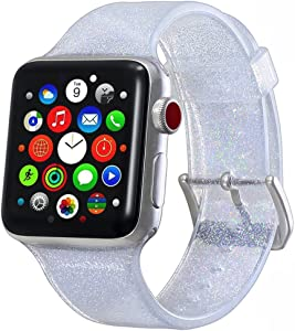 Compatible with Apple Watch Band 42mm 44mm, Libra Gemini Glitter Bling Silicone Replacement Band Compatible with Apple Watch Series 6/5/4/3/2/1