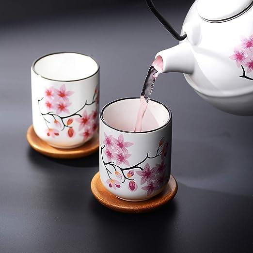 Panbado Juego de t/é de porcelana japonesa incluye 1 tetera de 700 ml con 2 tazas de t/é de 150 ml y colador de t/é de acero inoxidable decoraci/ón Kabuki