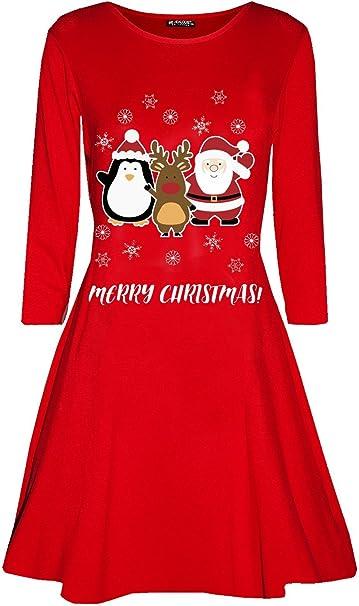 Womens Santa Penguin Printed Ladies Long Sleeve Flared Swing Christmas Dress Top