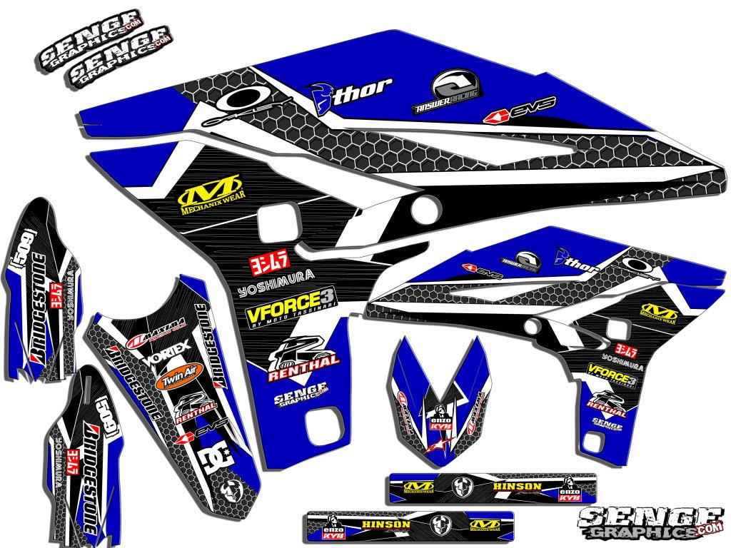 Podium Blue Graphics Kit Senge Graphics 1990-2018 Yamaha PW 50