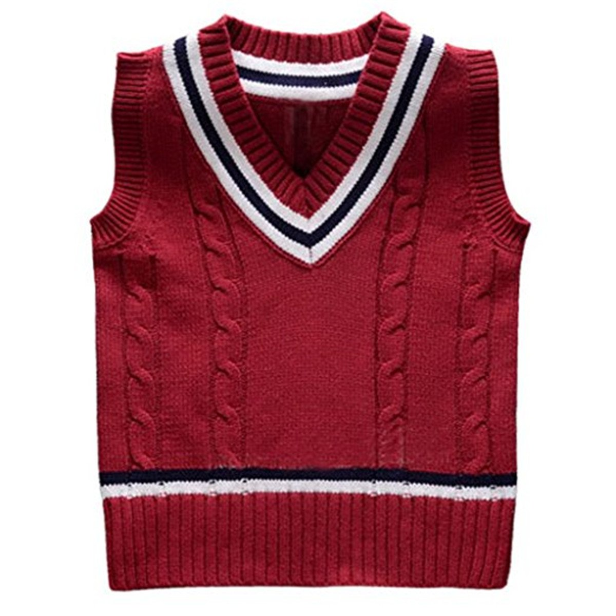 Baby Boys Toddler V-Neck Solid Color Cable Knit Pullover Sweater Vest AVTD002