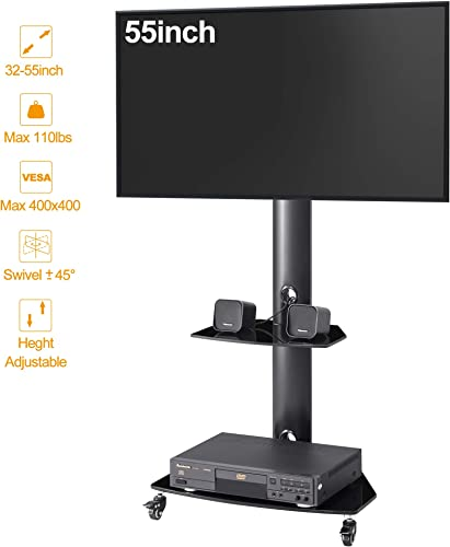 IANIYA Universal Mobile TV Stand for 27 -55 Flat and Curved Panel LED, LCD, and Plasma TVs,Height Adjustable TV Trolley
