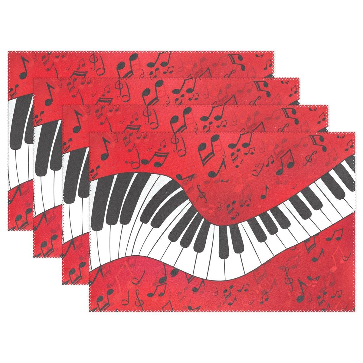 naanleピアノキーレッド音楽ノートプレースマットのセット1 / 4 / 6 Washableテーブルマットキッチンダイニングテーブルfor 12 x 18インチPlaceマット 1084024p145c160s239 4 マルチカラー B074C583Q8