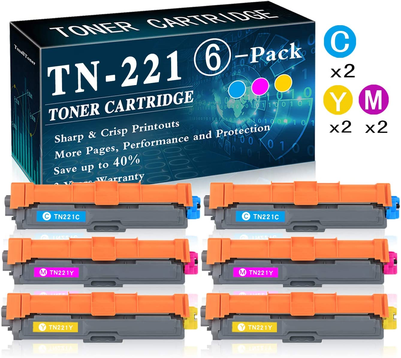 6-Pack (2C+2M+2Y) TN-221 Toner Cartridge Replacement for Brother Laserjet HL-3140CW HL-3150CDN MFC-9130CW MFC-9330CDW DCP-9015CDW DCP-9020CDN Printer Printer,by TmallToner