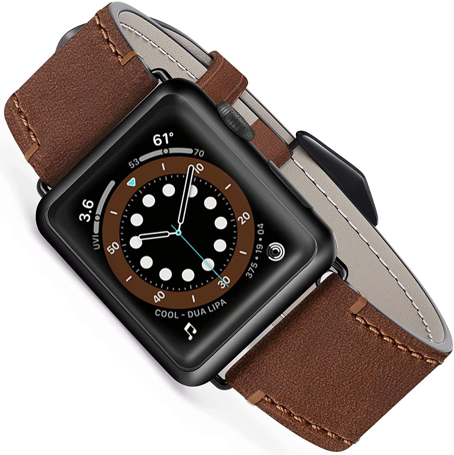 Geoumy Leather Band Compatible for Apple Watch Band SE Series 6 44mm 42mm, Genuine Men Leather Vintage Replacement Strap Classic Bands Buckle Compatible with iWatch 6/5/4/3/2/1