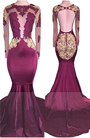 FIGHOUOR 2018 Burgundy Backless Sexy Prom Dresses With Long Sleeves Evening Gowns