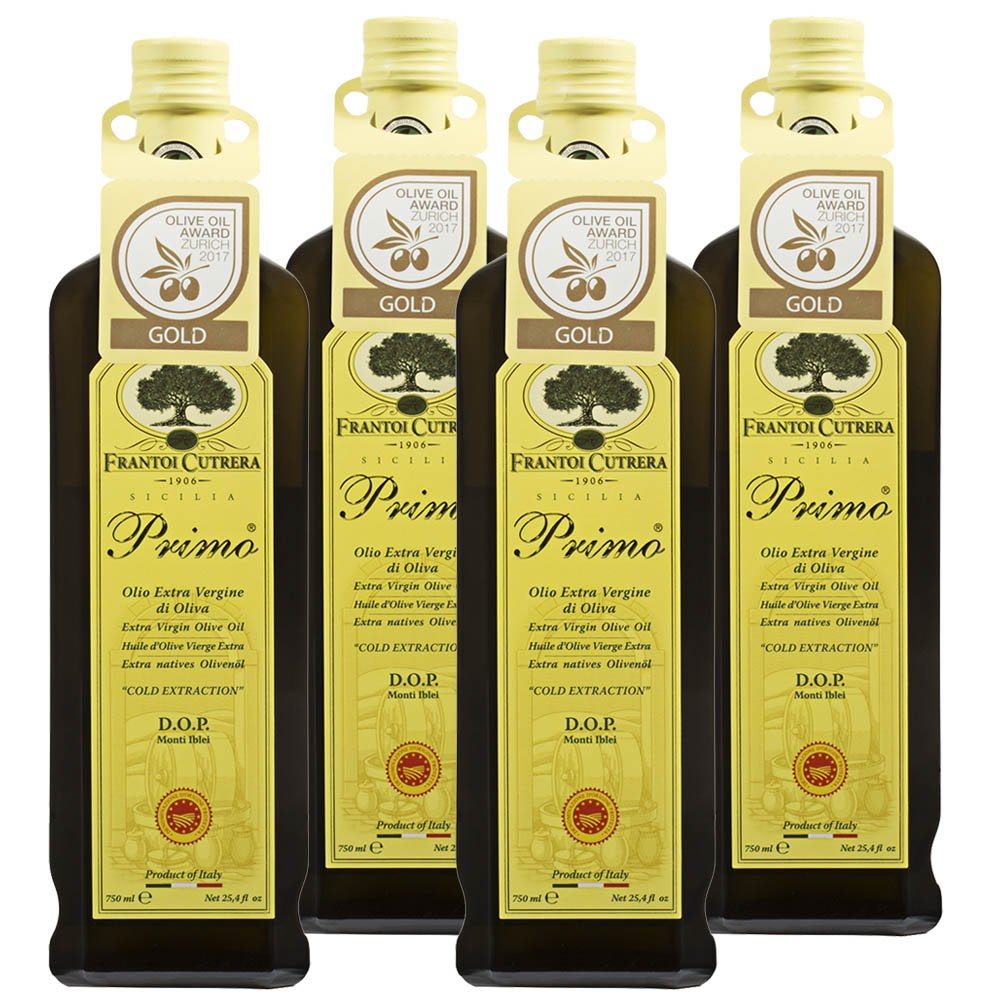 Frantoi Cutrera - Primo - Cold Extracted Extra Virgin Olive Oil, Imported from Italy, 24.5 fl oz - Pack of 4