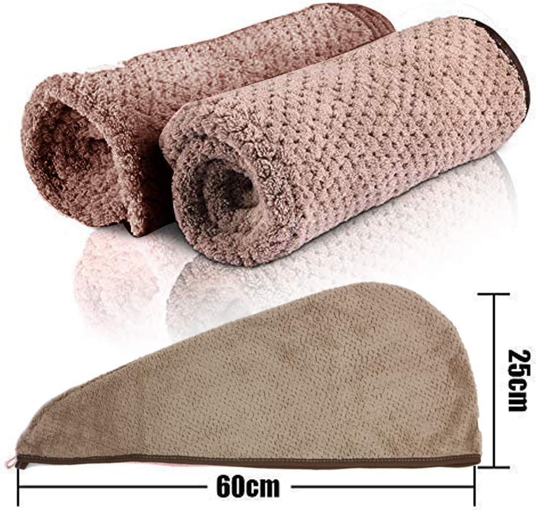 Cheveux Serviette Microfibre Rose Serviette cheveaux s/échage Ultra Absorbante Rapide en Microfibre KiraKira Serviette de Cheveux 2 Packs