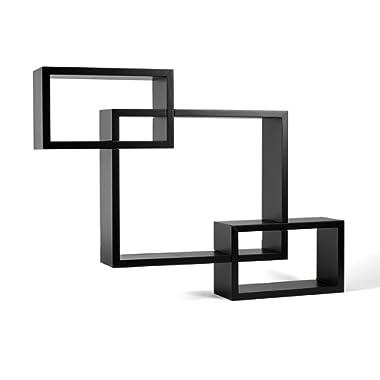 Melannco Interlocking Shelves (Espresso, Set of 3)