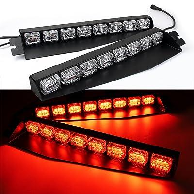 48LED 48W LED Lightbar Visor Light Windshield Emergency Hazard Warning Strobe Beacon Split Mount Deck Dash Lamp (Red): Automotive [5Bkhe1507693]