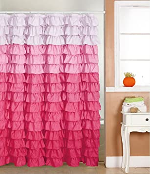 Waterfall Ruffled Fabric Shower Curtain (multi Color Pink)