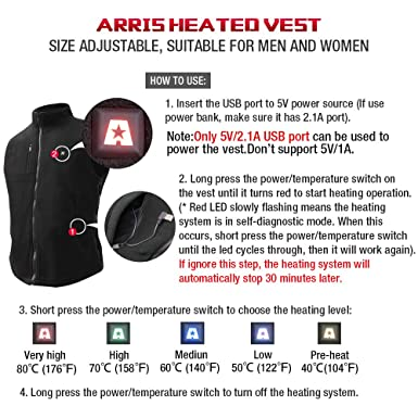 ARRIS Heated Vest Winter Warm Gilet Size Adjustable USB Charged Electric  Heating Vest for Outdoor Camping Hiking Hunting Unisex  Amazon.co.uk   Clothing 7d1b0bd9614c