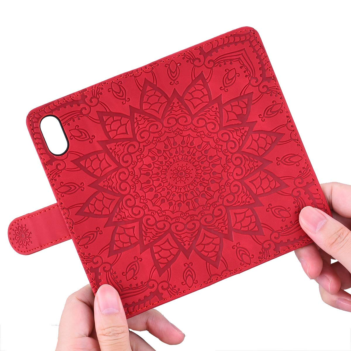Jorisa Leather Wallet Case for iPhone 7 Plus//iPhone 8 Plus,Retro Embossed Mandala Flower Pattern Flip Stand Case with Card Holder Magnetic Closure Book Style Purse Phone Cover,Brown