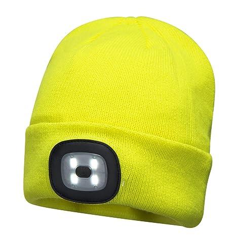 9a598a0118ed7 Portwest USB Rechargeable LED Hi Vis Beanie Hat Hands Free Flashlight Knit  Headlamp - - Amazon.com