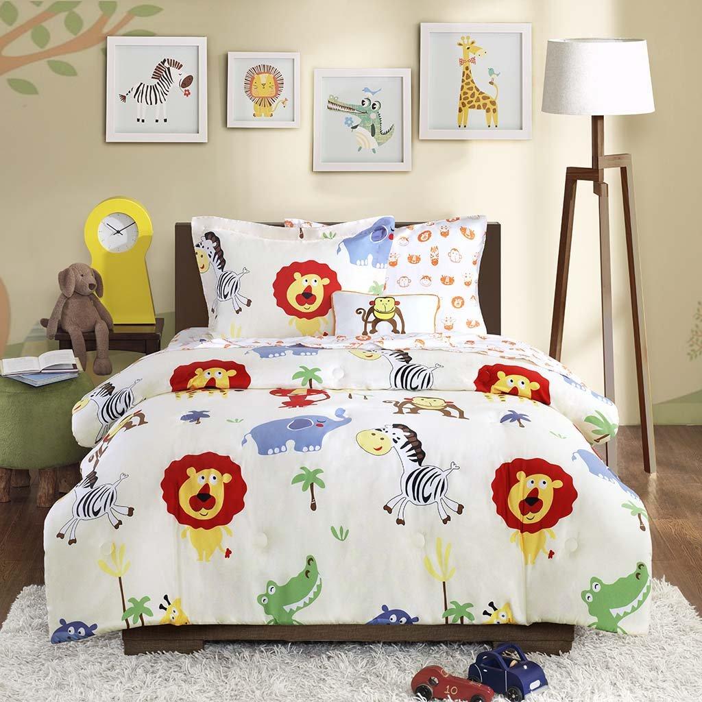 Amazon.com: Mi Zone Kids Safari Sam Full Kids Bedding Sets For Boys    White, Lion Monkey U2013 8 Pieces Boy Comforter Set U2013 Ultra Soft Microfiber Kid  Childrens ...