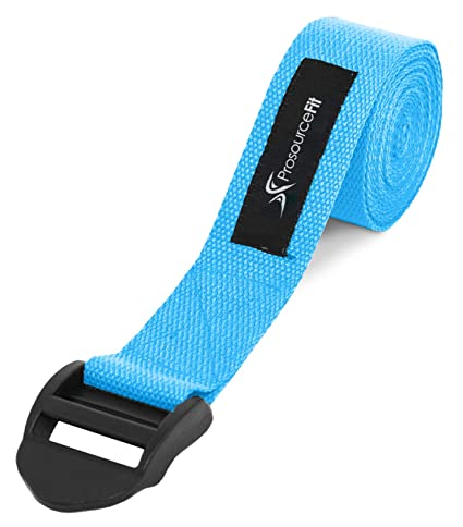 Prosource Fit Cinch Buckle Yoga Strap, Durable Cotton 8ft  x 1 5in for  Stretching, Holding Yoga Poses and Physical Therapy