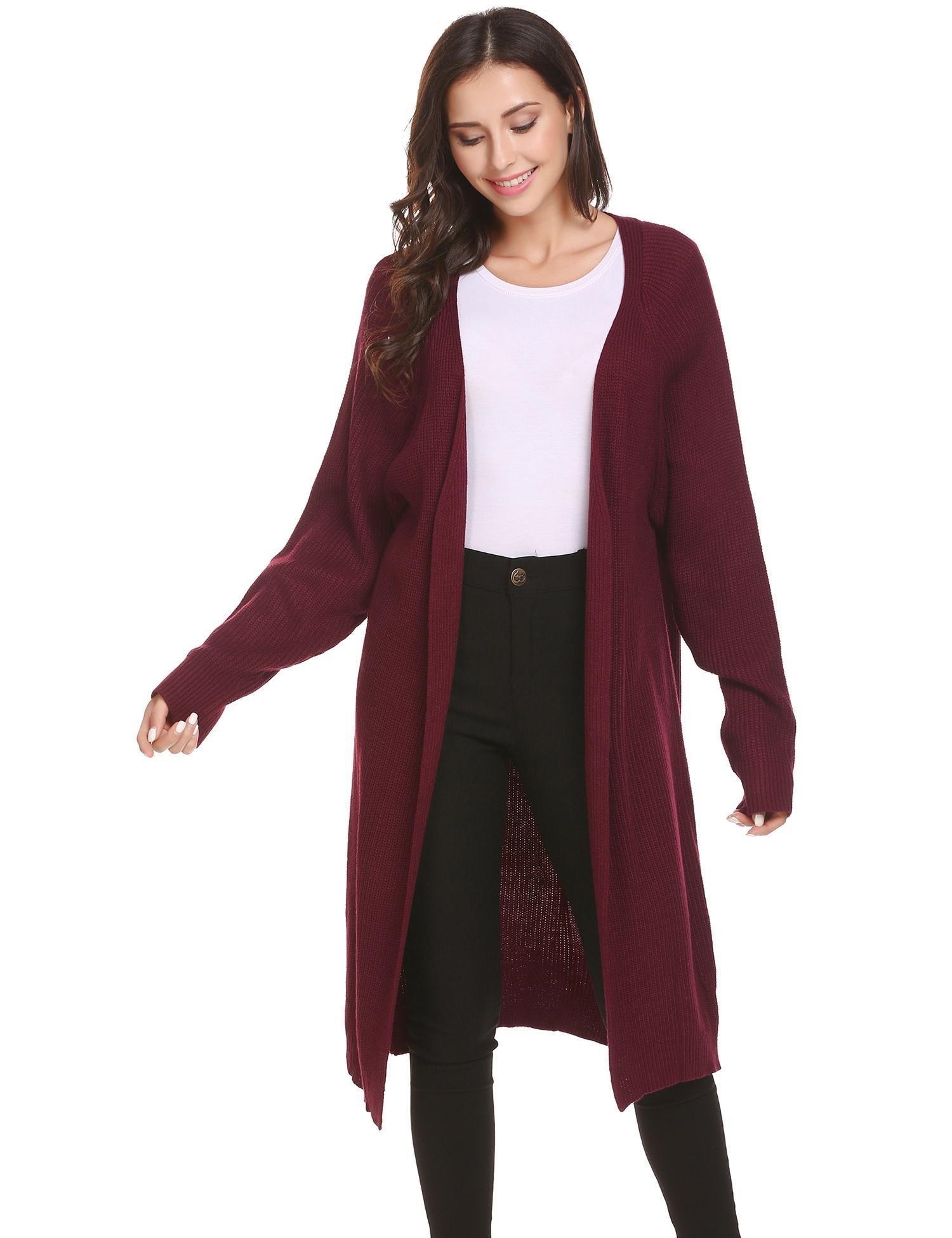 Womens Solid Basic White Long Sleeve Bolero Shrug Knit Crop Cardigan Top Wine Red M