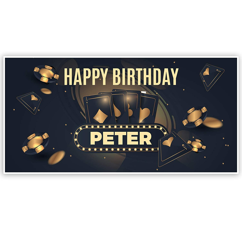 Dark Gold Poker Birthday Banner