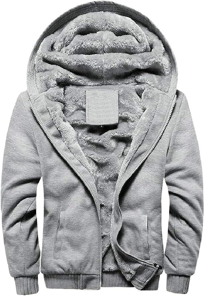 ONTBYB Mens Fleece Hooed Hoodies Wool Warm Winter Jacket Coats