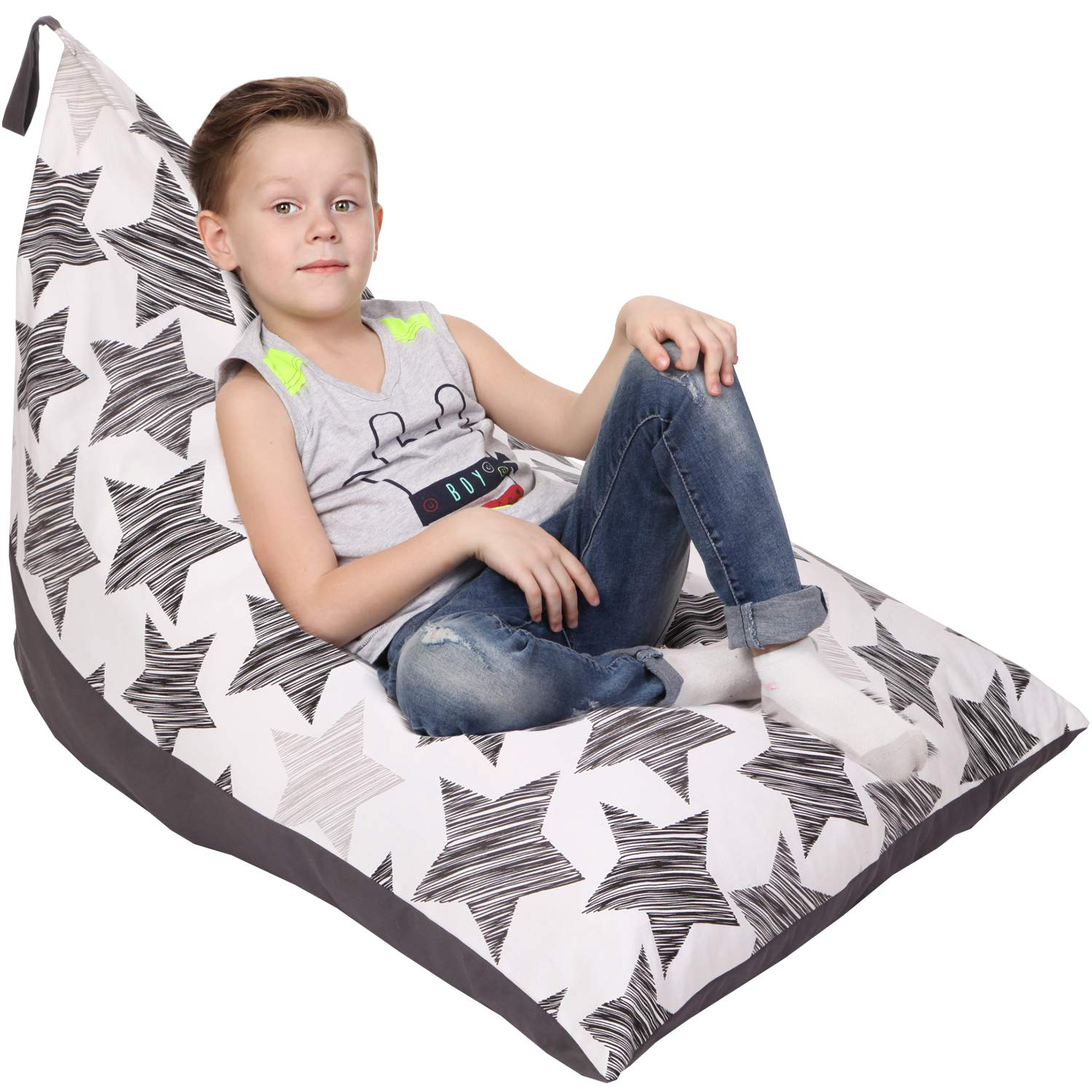 Stuffed Animal Storage Bean Bag - Cover Only - Large Triangle Beanbag Chair for Kids - 180+ Plush Toys Holder - Floor Pillows Organizer for Boys and Girls - 100% Cotton Canvas - Hatch Stars by 5 STARS UNITED
