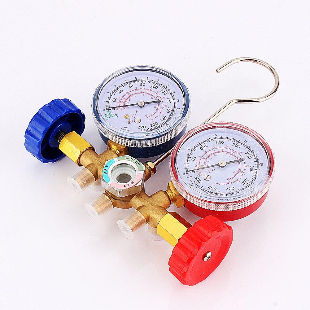 3 Manguera de Color C Colector de Medici/ón R12 R22 R502 Aire Acondicionado Autom/ático con 2 Acoplador Man/ómetro A