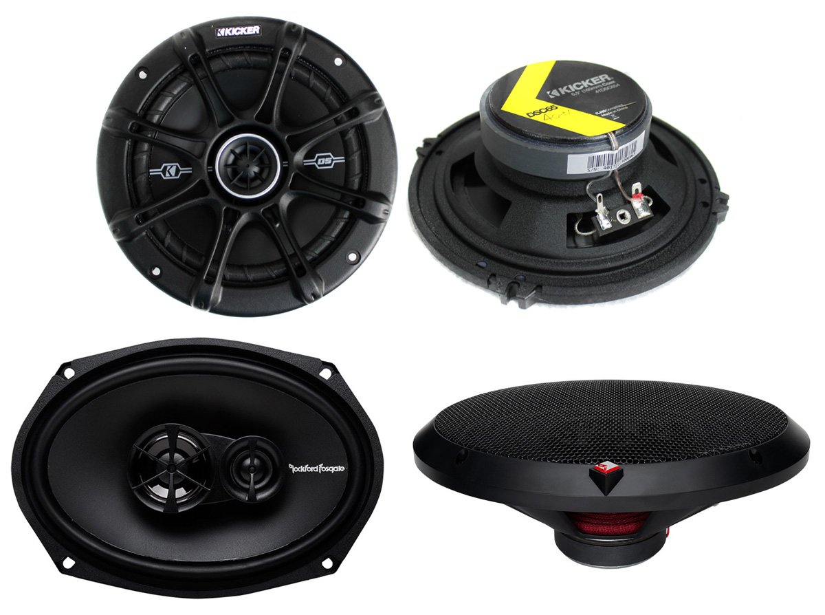 2) Kicker 41DSC654 6.5'' 240W 2-Way + 2) R169X3 6x9'' 130W 3 Way Car Speakers