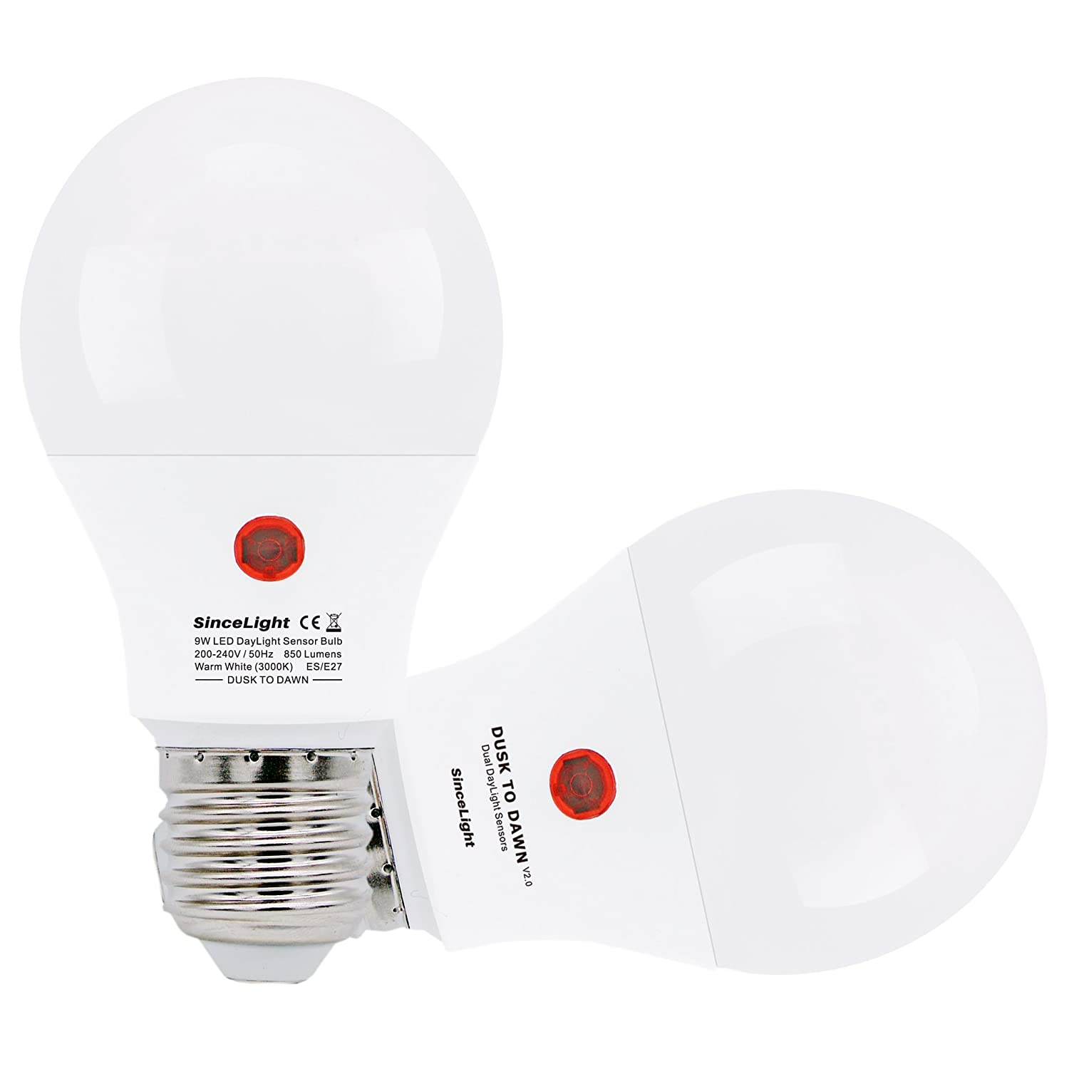 Dusk To Dawn Led Bulb With Dual Daylight Sensors On Off Automatic Circuit 220v Flasher White Flood Lamp Depends Level Night Light From Till 9 Watt 2 Pack 3000k