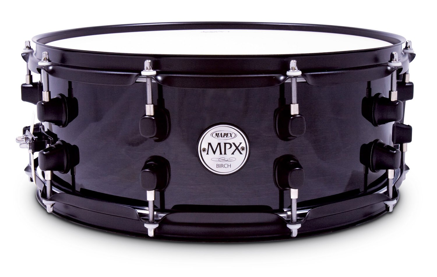 Mapex MPX 14 inch x 5.5 inch all birch snare drum in Transparent Black lacquer finish with black hardware by Mapex