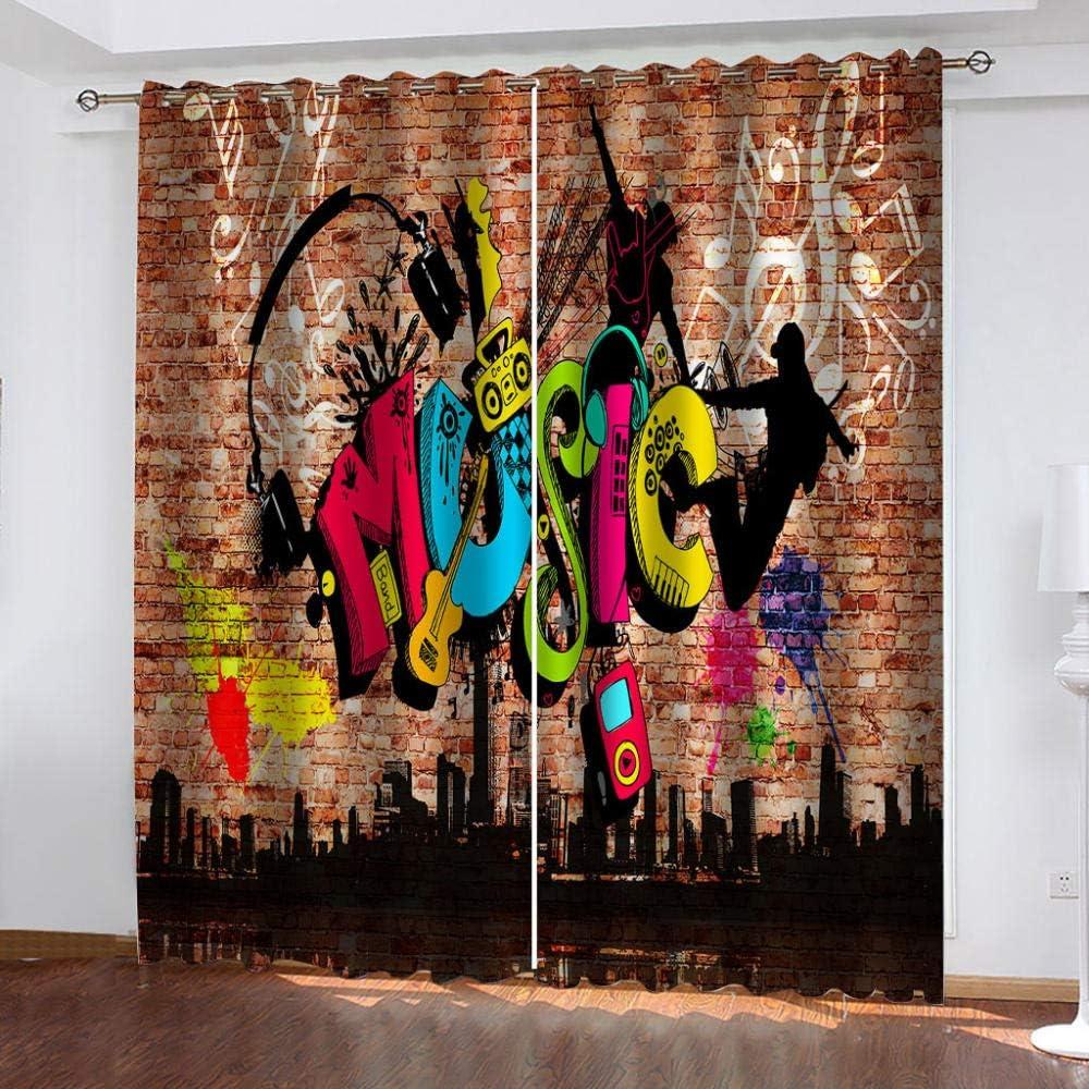ZHHSJJ Verdunkelungsvorhang Kinderzimmer Graffiti-Stil Blickdichte Gardinen Lichtundurchl/ässige Vorhang mit /Ösen f/ür Schlafzimmer Ger/äuschreduzierung 2er Set 2 x B117 x H138cm