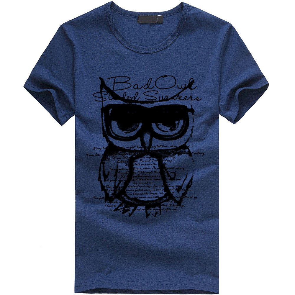 EOWEO Men's Short T-shirt Men Boy Printing Owl Tees Shirt Short Sleeve Cotton T Shirt Clothes NY/XL(X-Large,Navy)