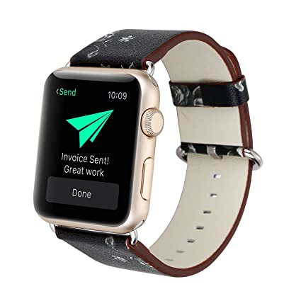 5439899a5 Ladies Flower Bracelet for iWatch,Vintage Floral Prints Wrist Soft Leather  Replacement Band for Apple