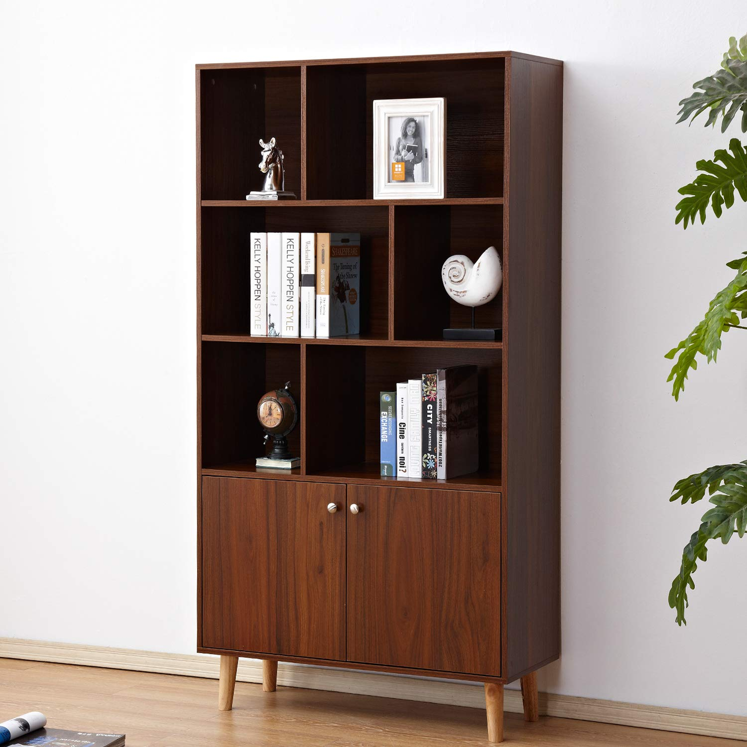 soges Premuim Modern Display Storage Cabinet 67.4 inches High Free Standing Wood Bookshelf Home Office Cabinet, Walnut HHGZ006-WN by soges