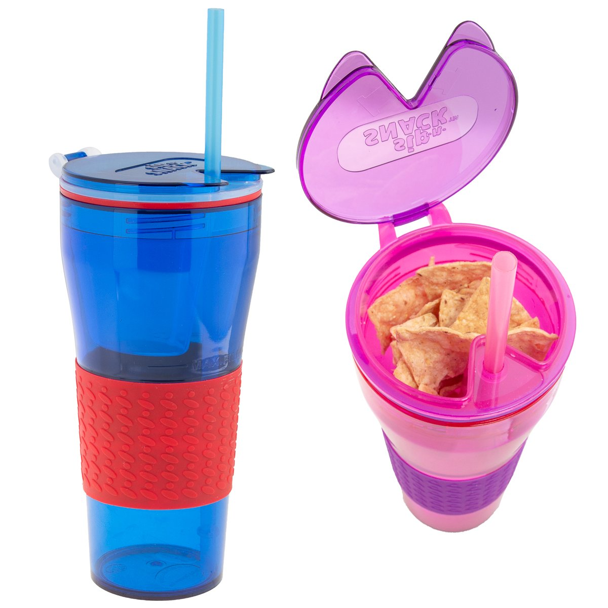 Sip-N-Snack (2 Pack) 2-in-1 Kids Cups BPA-Free With Straws & Reusable Snack Container With Lids Snack Cup