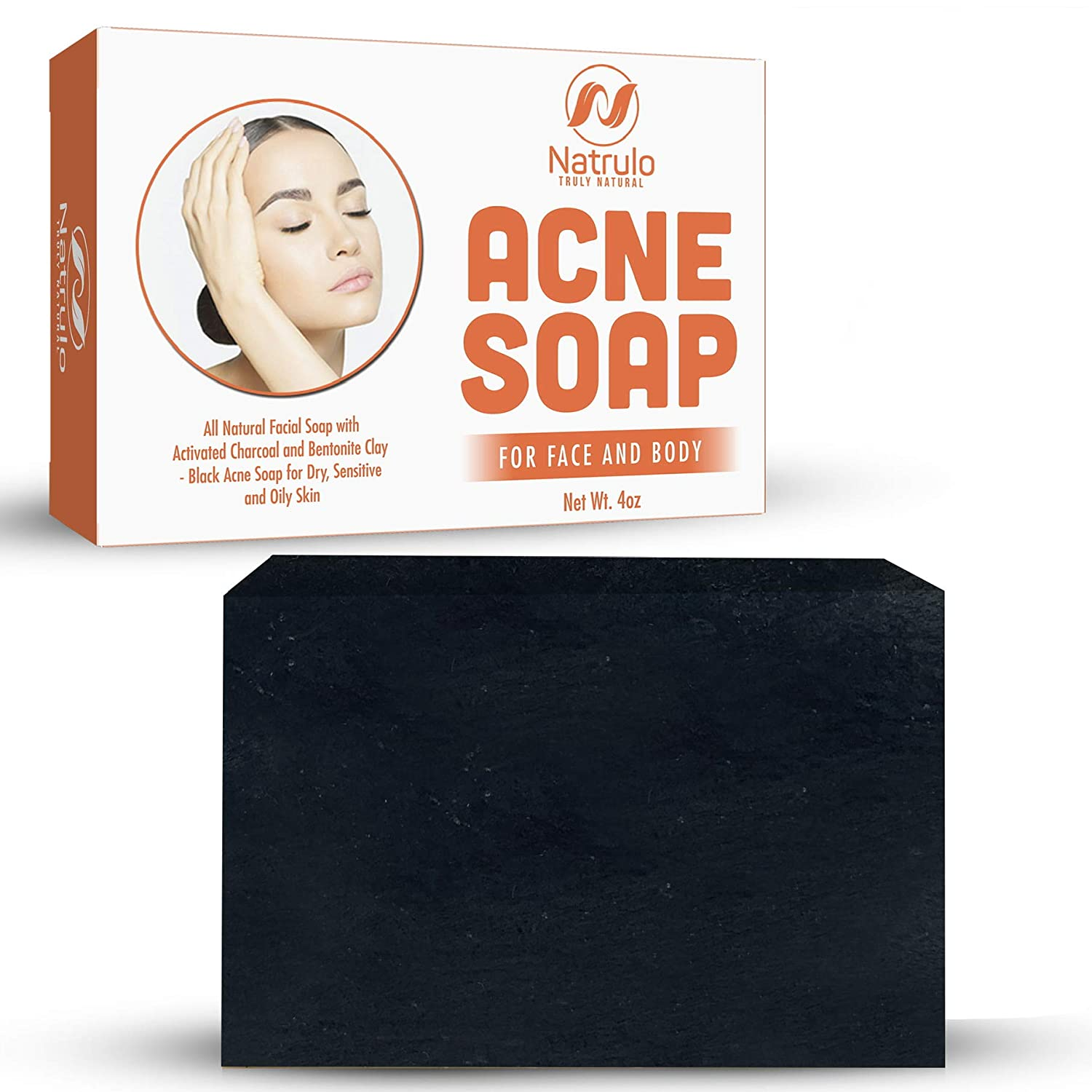 Natrulo Acne Bar Soap with Activated Charcoal & Bentonite Clay - Black Acne Soap for Dry, Sensitive & Oily Skin - All Natural Facial Soap for Pimples & Scars -Homeopathic Acne Treatment Made in USA