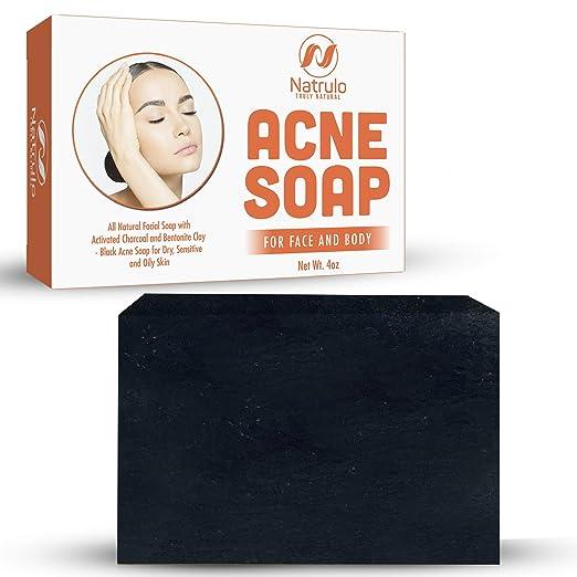 Amazon.com: Jabón de barra de acné Natrulo con carbón ...