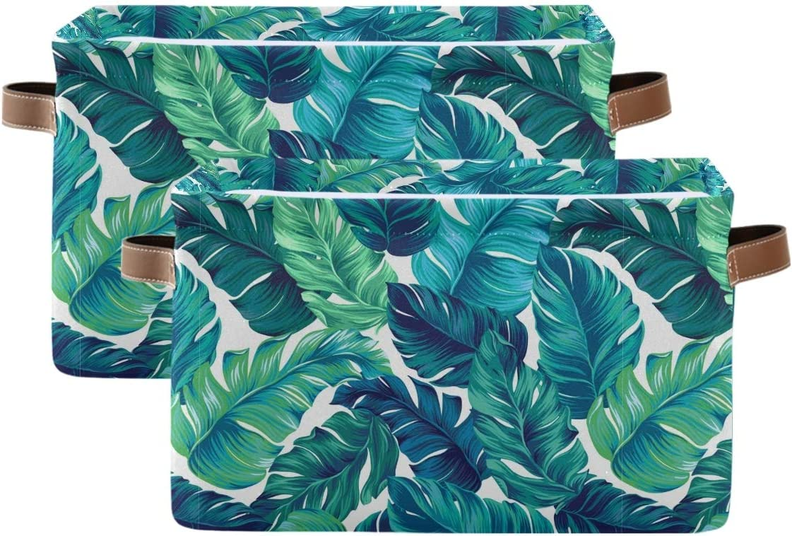 Blueangle Green Tropical Leaves Rectangle Storage Bin, 15 x 11 x 9.5 in, Collapsible Organizer Storage Basket for Home Décor, 2PCS