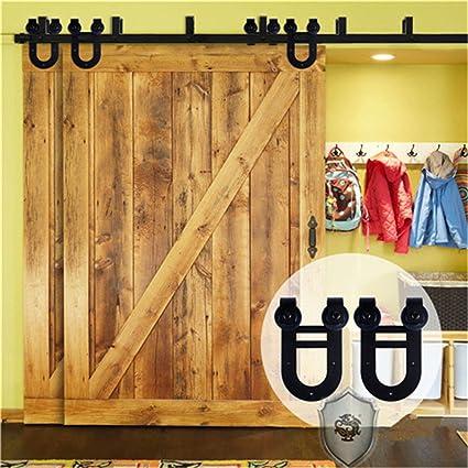 Kirin Hardwares Interior Wood Door Decor Soft Close Double Doors Bypass  Barn Door Hardware 7 Foot