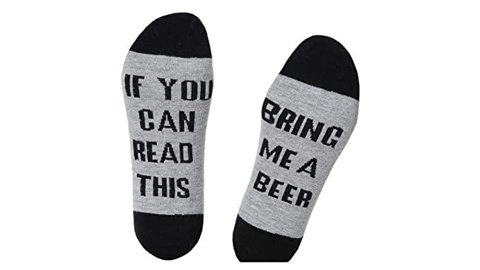 Whobabe Calcetines de algodón unisex IF YOU CAN READ THIS BRING ME A BEER Calcetines Calcetines