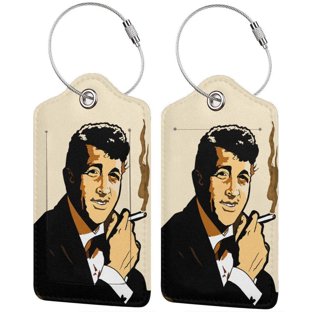 Smoking Dean Martin Leather Luggage Tag Travel ID Label For Baggage Suitcase