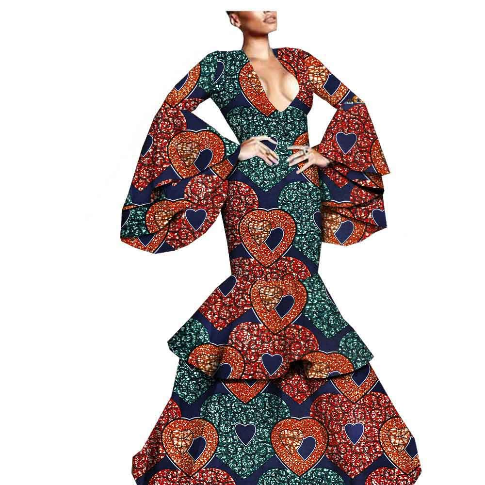 328j Afripride African Party Dress for Women Flare Sleeves Floor Length Women Trumpet Dress A1925023