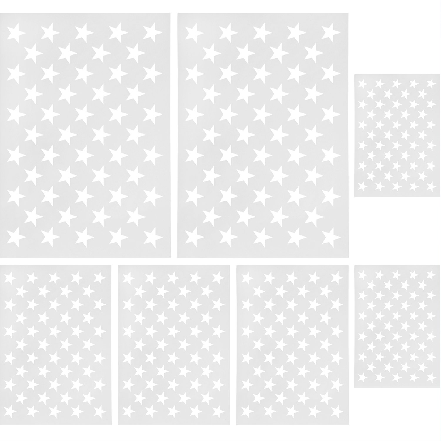Gejoy 7 Pieces Star Stencil Template 50 Stars American Flag Template for Painting and DIY Making American Flags, 10.5 by 14.82 inch, 7 by 10 inch, 5 by 7 inch