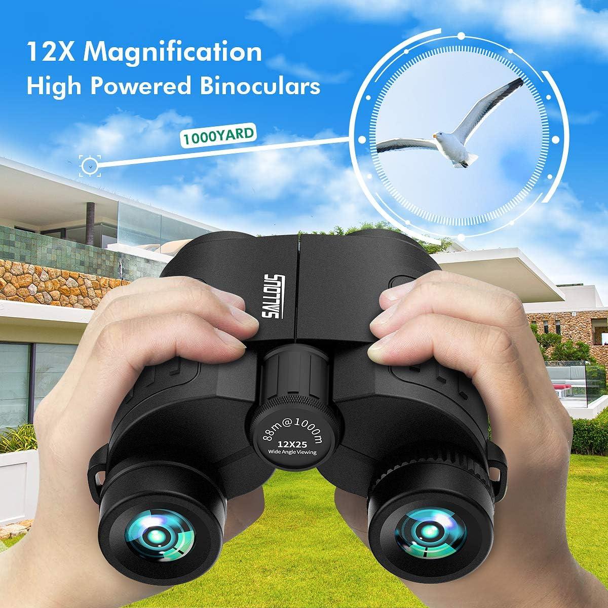 12X25 Compact Binoculars, Small Binoculars for Adults Kids, High Powered Lightweight Binoculars for Bird Watching, Easy Focus Folding Binocular for Traveling Hiking Wildlife Outdoor Concert