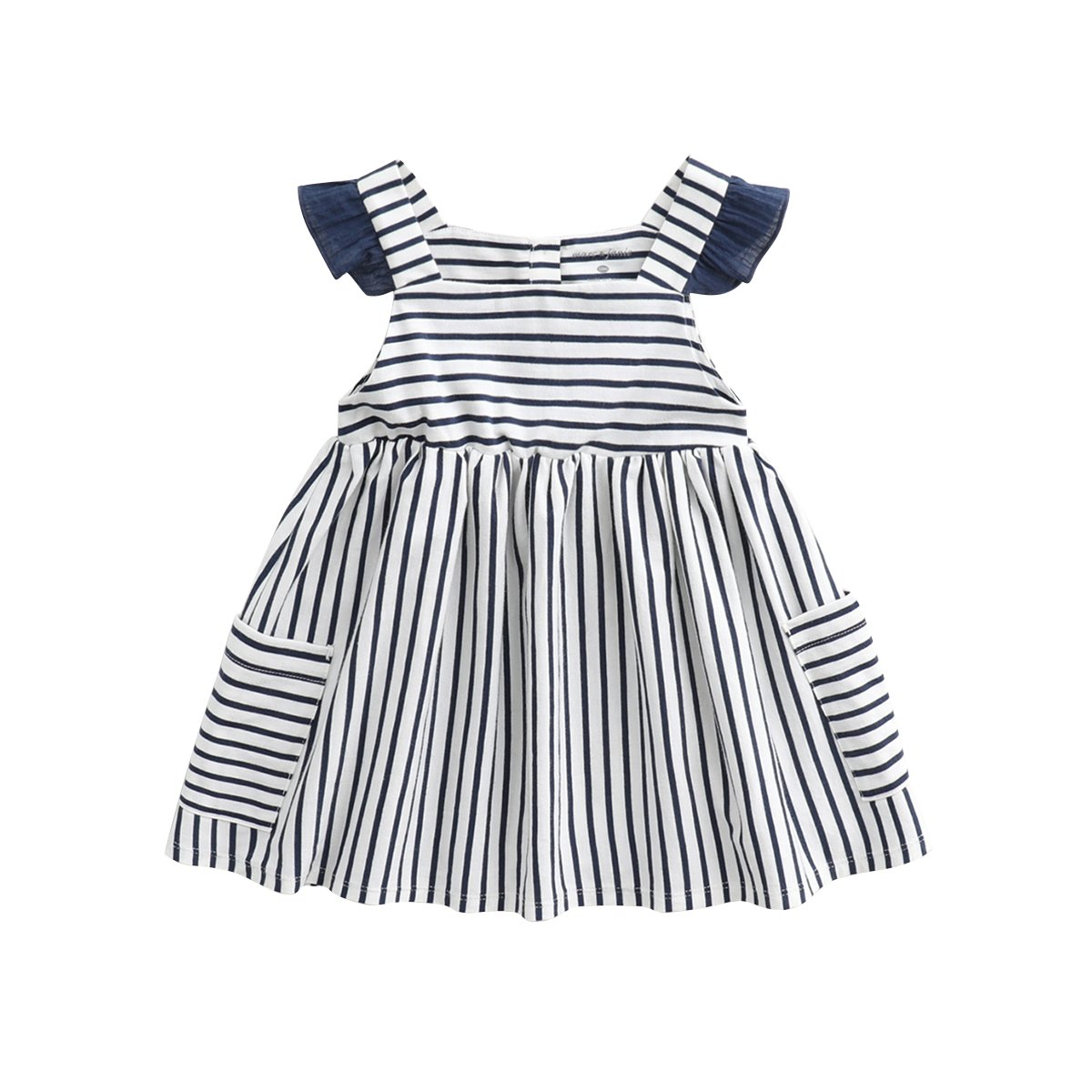 55789797d713 Amazon.com  marc janie Girls Cotton Striped Dress with Cap Sleeves  Clothing