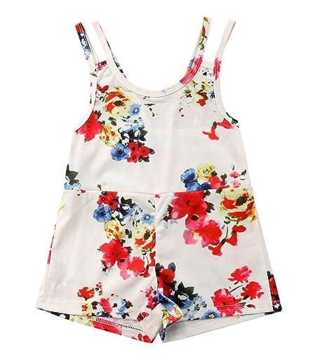 b251ca948dca Amazon.com  rechange Baby Girls Floral Print Strap Romper Shorts ...