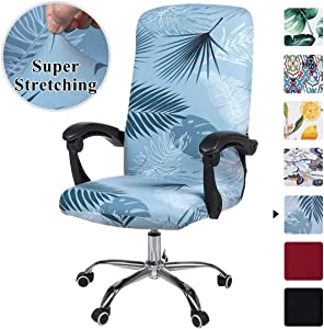 smiry Stretch Printed Computer Office Chair Covers, Soft Fit Universal Desk Rotating Chair Slipcovers, Removable Washable Anti-Dust Spandex Chair Protector Cover with Zipper (Blue)