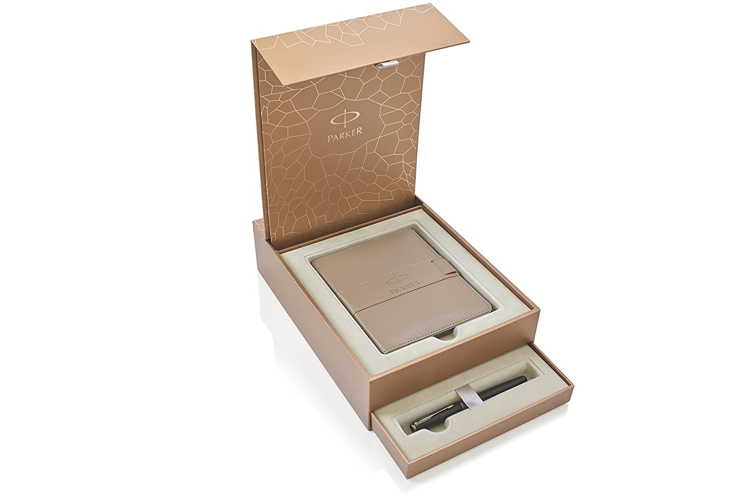 Parker Gift Set Ingenuity Slim Pearl Lacquer Pink Gold Trim 5th Technology Pen + Notebook and Notebook cover 1935166