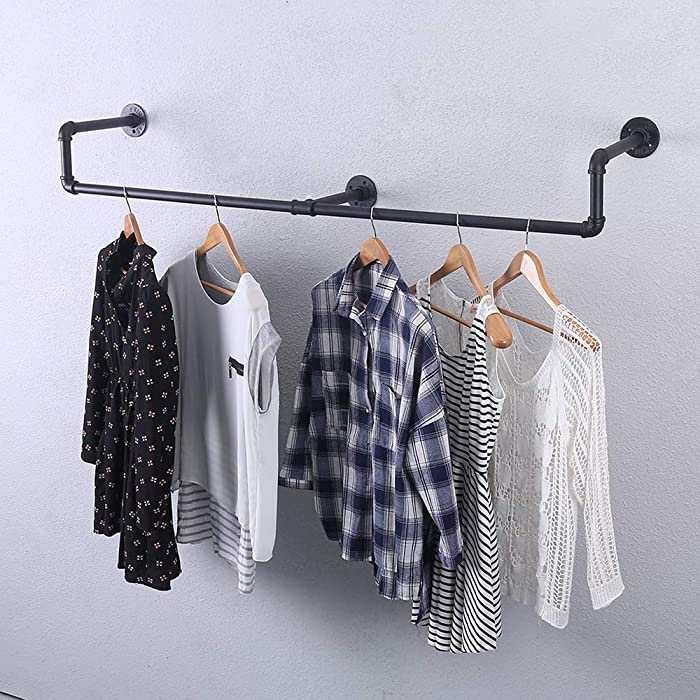 Industrial Pipe Clothing Rack Wall Mounted,Vintage Retail Garment Rack Display Rack Cloths Rack,Metal Commercial Clothes Racks for Hanging Clothes,Black Iron Clothing Rod Laundry Room Decor(39.3in)