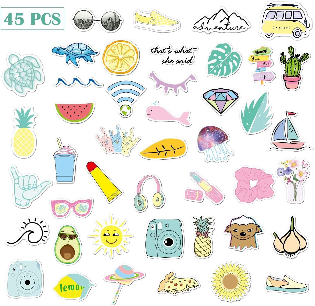 AnvFlik Stickers for Kids 45 Different Colorful Stickers for Water Bottles, Vsco Stickers Laptop Stickers Pack Cute Aesthetics Stickers for Boys Girls Teens Girls,45 PCS